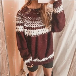 ASOS Burgundy white fuzzy holiday knit sweater